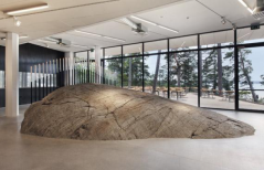The two billion year old rock is on permanent display at Artipelag; it emerged out of the sea circa 1,000 BC.
